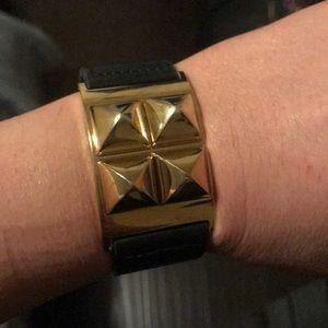 Michael Kors Leather Bracelet w/gold studs